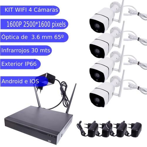 kit cctv 4 camaras wifi exterior 4 MegaPixel blanca infrarrojo
