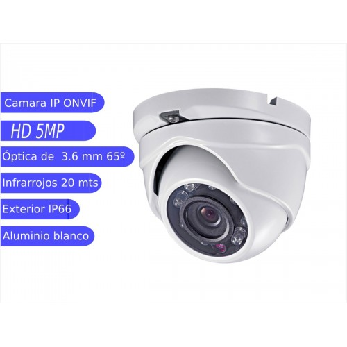 Minidomo IP 5MP exterior 3.6mm IR 30m  blanca