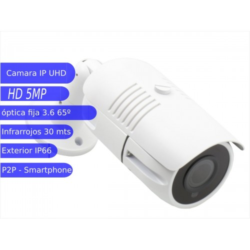 Camara IP Bullet 5MP exterior 3.6mm IR 30m blanca