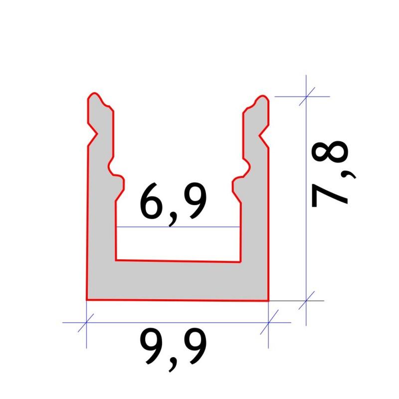 Perfil aluminio tira led 2 metros superficie 9,9x7,8 mm tira 6mm