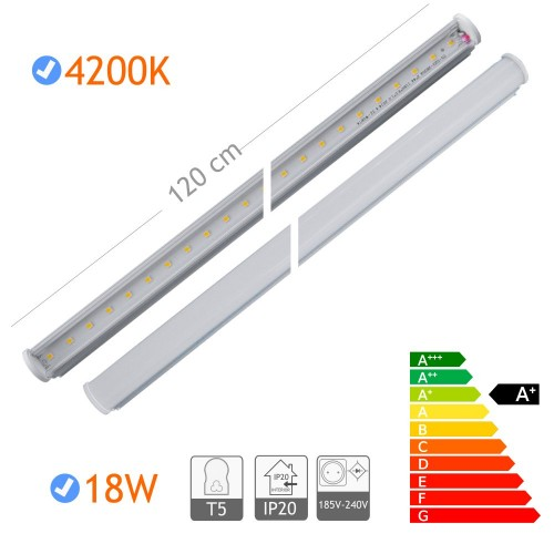 Tubo led T5 18W 1200mm 4200K con soportes y cable