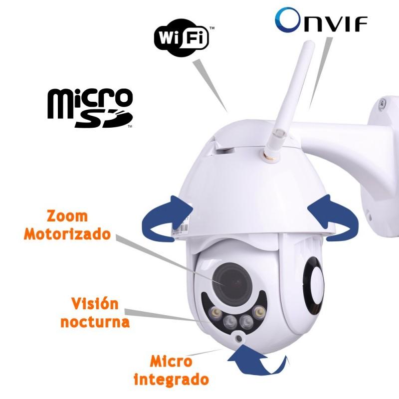 Cámara IP WIFI motorizada exterior 1080P ONVIF audio