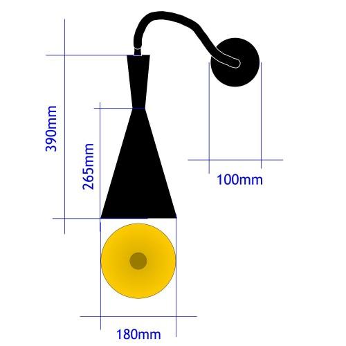 Lampara techo Trompeta 16cm negra colgante E27 cable negro