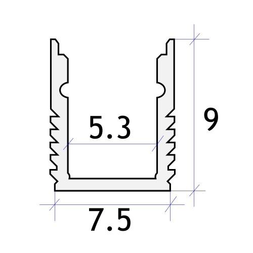 Perfil aluminio estrecho tira led 2 metros superficie 7.5x9 mm
