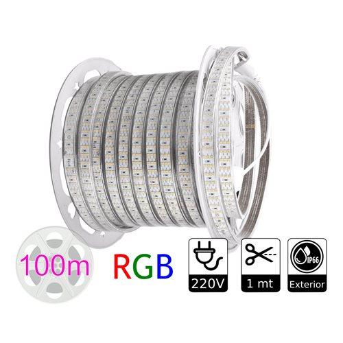 Tira de led 220V RGB exterior 10w metro bobina 100 metros