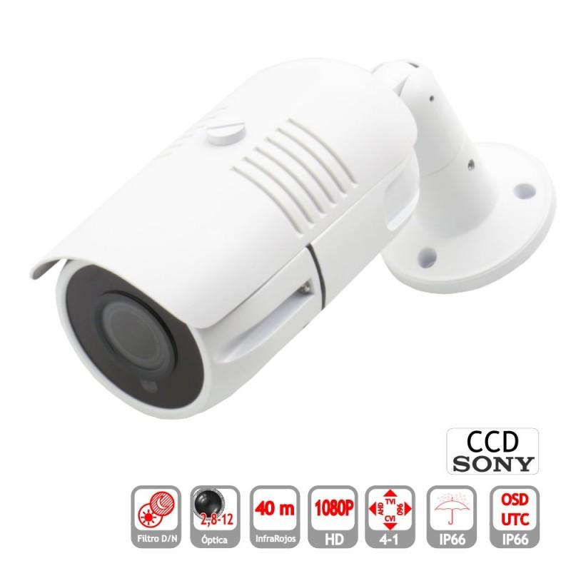 Camara Bullet 4 en 1 1080P exterior 2,8-12mm infrarrojos OSD UTC blanca