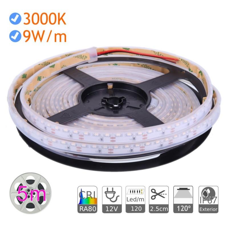 Tira led luz lateral 12V 3000K exterior IP67 9W/m 120 Led/m