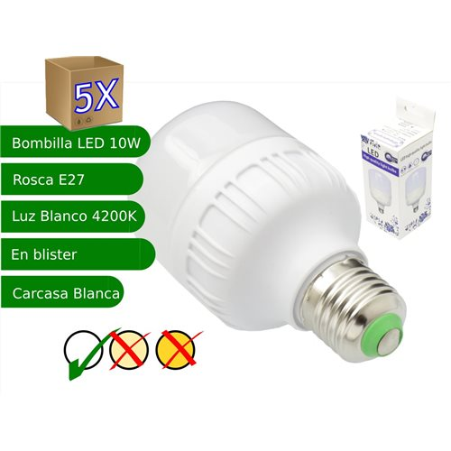 5x Bombillas LED 10W rosca E27 luz 4200K blanco neutro