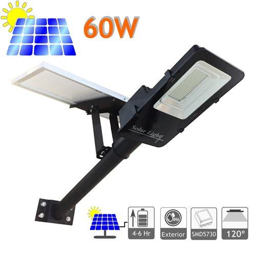 Farola solar 60W panel orientable 6000K exterior ion-litio