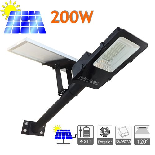 Farola solar 200W panel orientable 6000K exterior ion-litio