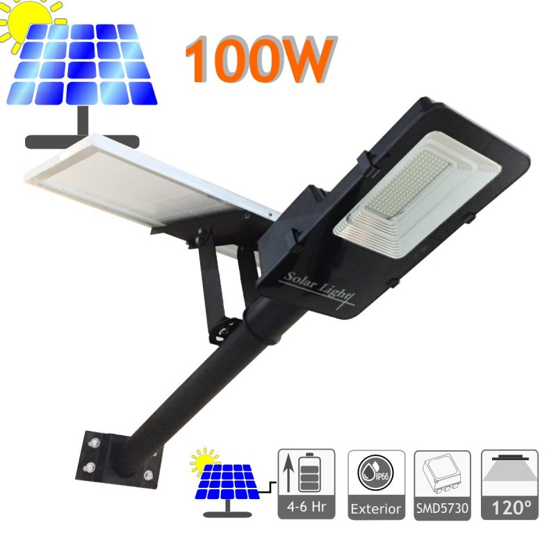 Farola solar 100W panel orientable 6000K exterior ion-litio