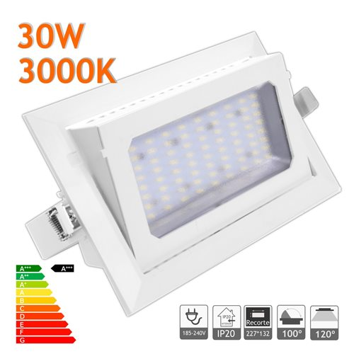 Downlight LED 30W Basculante rectangular 3000K blanco