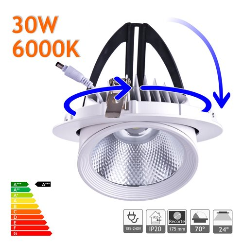 Downlight LED 30W Basculante redondo 6000K blanco