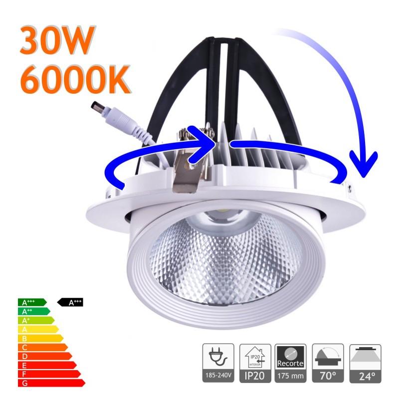 Downlight LED 30W Basculante redondo 6000K blanco