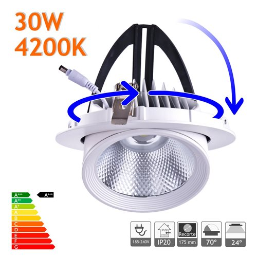 Downlight LED 30W Basculante redondo 4200K blanco