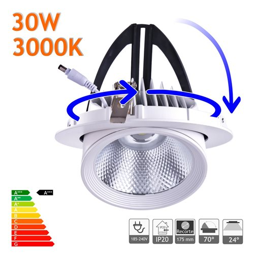 Downlight LED 30W Basculante redondo 3000K blanco