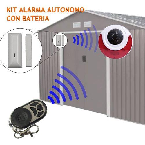 Kit alarma autonomo Sirena inalambrica bateria, detector y mando
