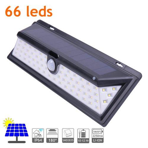 Aplique solar LED alta potencia batería li-ion 65 leds
