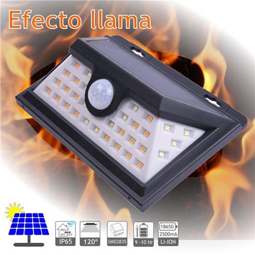 Aplique solar LED efecto llama batería li-ion