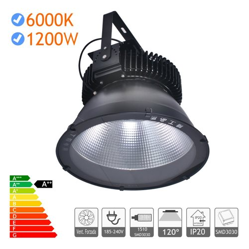 Campana LED 1200W Industrial alta potencia SMD3030 negra