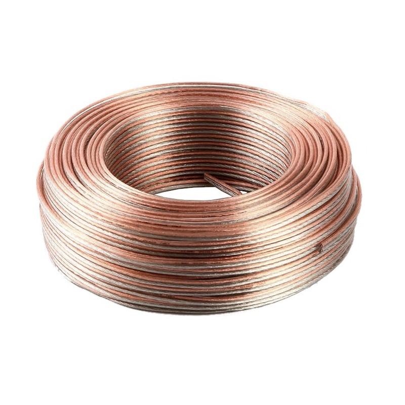 Cable paralelo transparente 1,5mm tipo altavoz bobina 100 metros