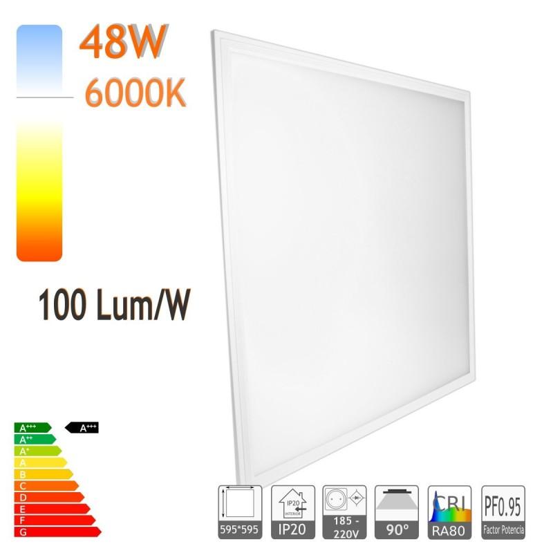 Panel led 60 x 60 cm 48W 6000K marco blanco 100lm/W PF0.9