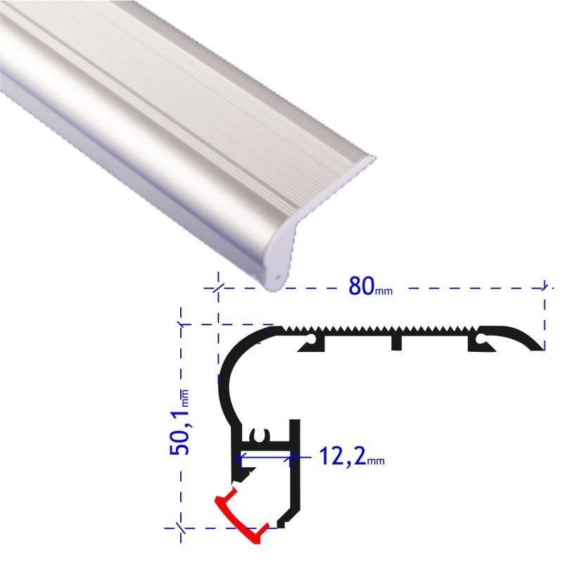 Perfil aluminio tira led 2 metros para escalera canto huella contra huella