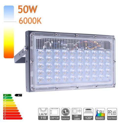 Proyector led 50W 6000K ensamblable ultra slim exterior