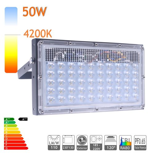 Proyector led 50W 4200K ensamblable ultra slim exterior