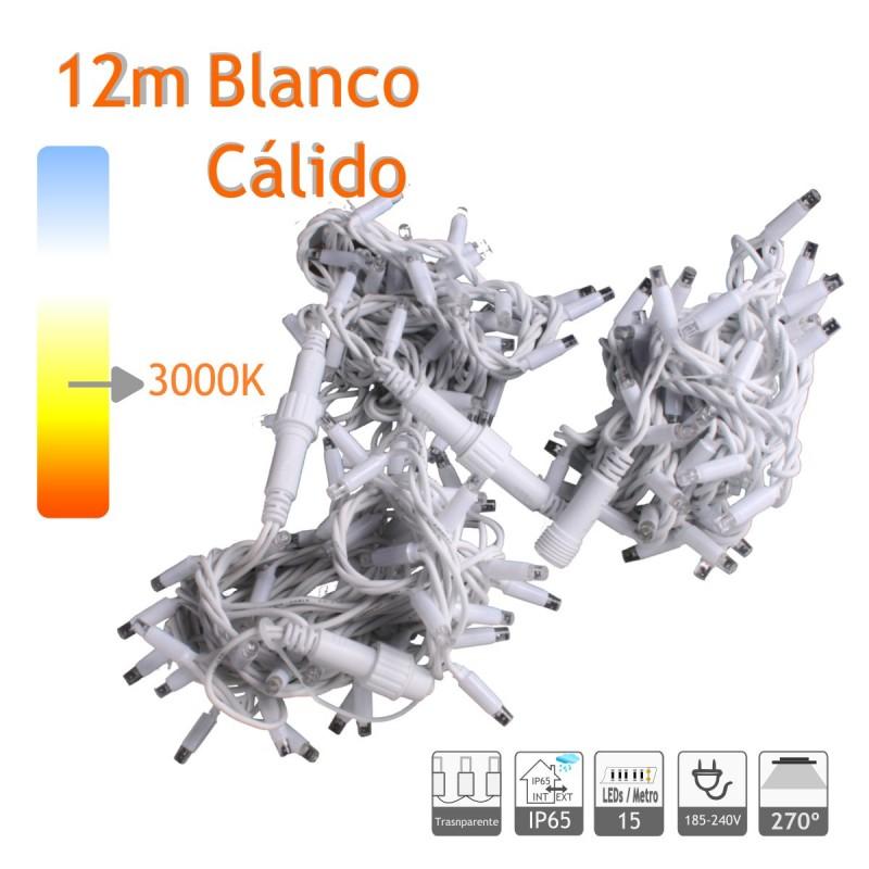 Guirnalda Led 12m Blanco Calido Cable Blanco Capsula Trasparente 220V