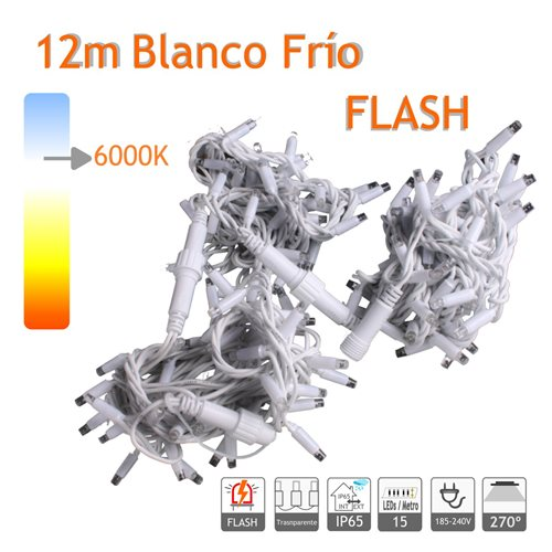 Guirnalda Led 12m Blanco Frio Flash Cable Blanco Capsula Trasp. 220V