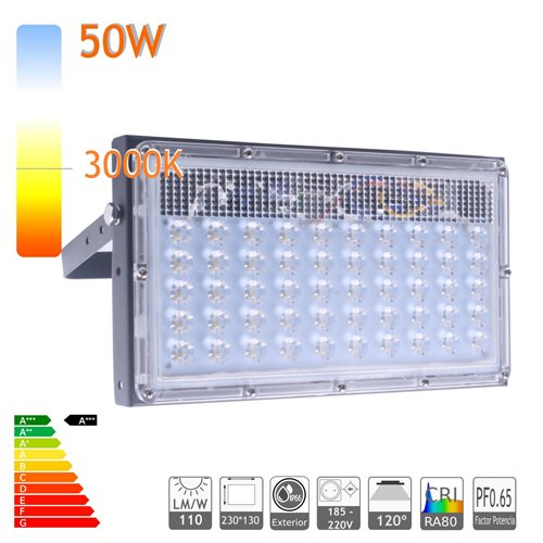 Proyector led 50W 3000K ensamblable ultra slim exterior