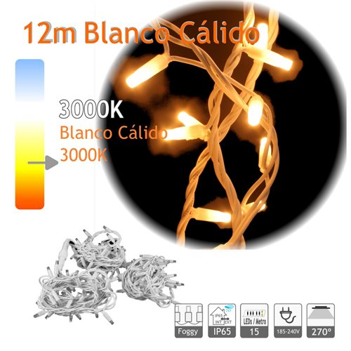 Guirnalda Led 12m Blanco Calido Cable Blanco Capsula Foggy 220V