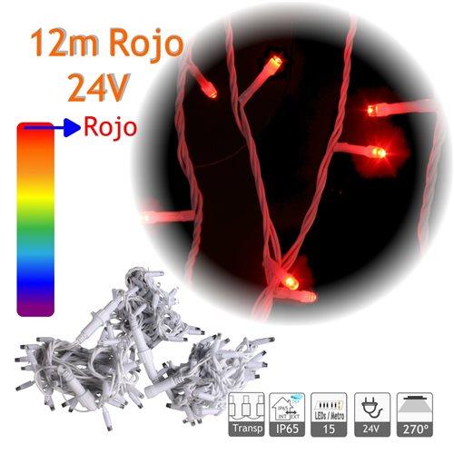 Guirnalda Led 12m Rojo Cable Blanco Capsula Trasparente 24V