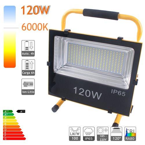 Proyector LED bateria 120W luz emergencia salida USB cargador