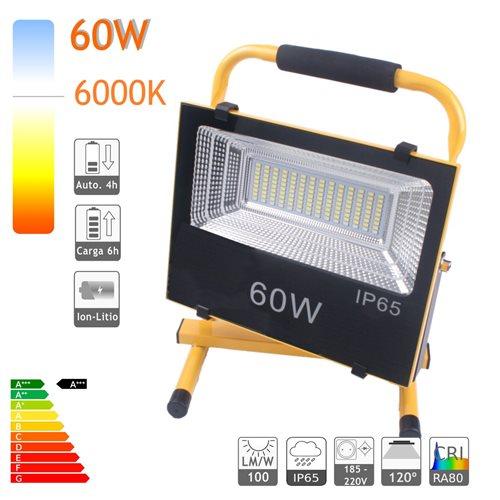 Proyector LED bateria 60W luz emergencia salida USB cargador