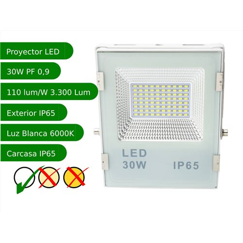 Proyector led slim 30W exterior IP65 SMD5730 6000K blanco 110l/w