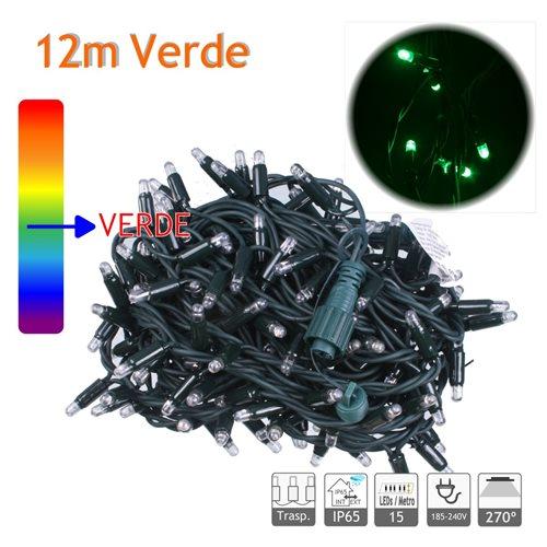Guirnalda Led 12m 10W verde cable verde Capsula Trasparente 220V