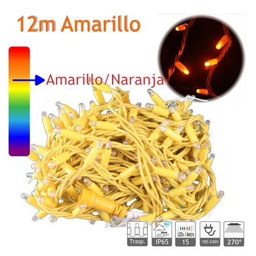 Guirnalda Led 12m 10W Amarillo cable Amarillo Capsula Trasparente 220V
