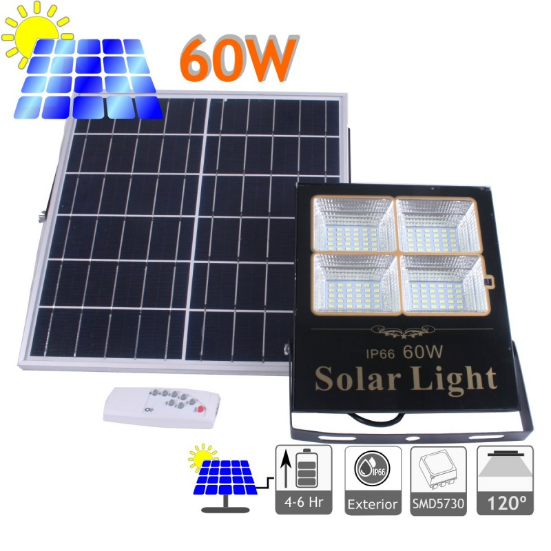 Proyector led solar 60W panel separado bateria litio