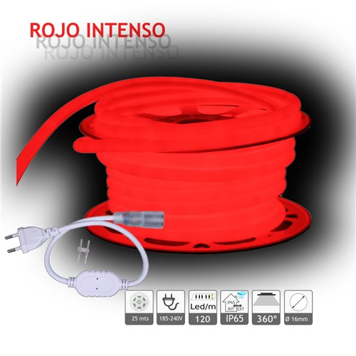 Neón LED circular 360 flexible ROJO 220V 120 led metro 25m