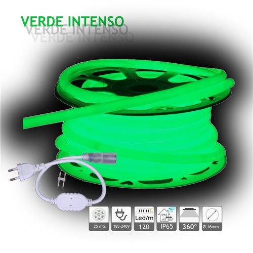 Neón LED circular 360 flexible VERDE 220V 120 led metro 25m