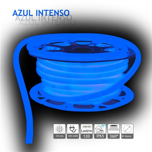 Neón LED circular 360 flexible AZUL 220V 120 led metro 25m