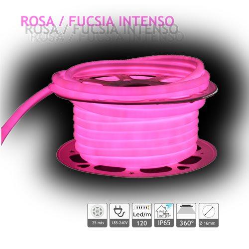 Neón LED circular 360 flexible ROSA 220V 120 led metro 25m