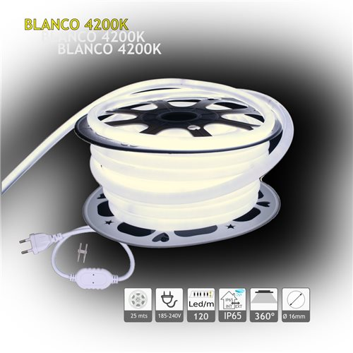 Neón LED circular 360 flexible 4200K 220V 120 led metro 25m