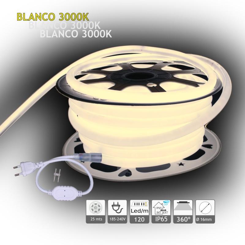 Neón LED circular 360 flexible 3000K 220V 120 led metro 25m