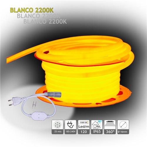 Neón LED circular 360 flexible 2200K 220V 120 led metro 25m