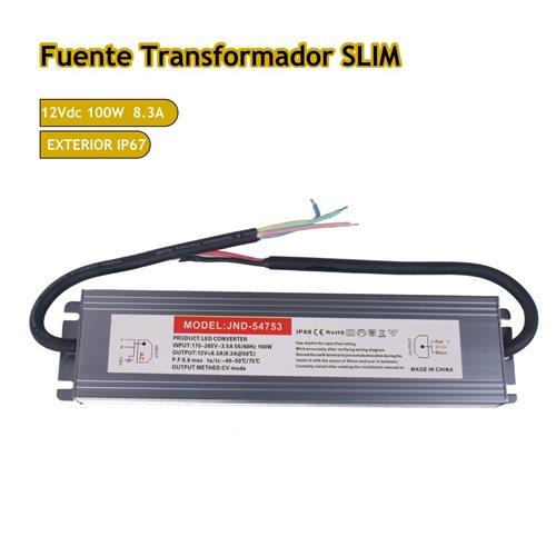 Fuente trafo 220V-12V 8,33A 100W IP67 Slim
