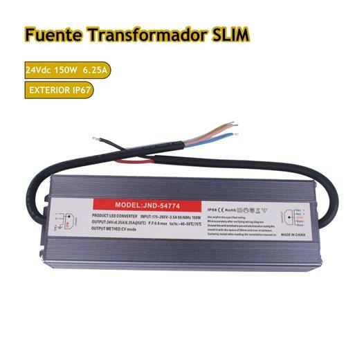 Fuente trasformador SLIM 24V 6.25A 150W
