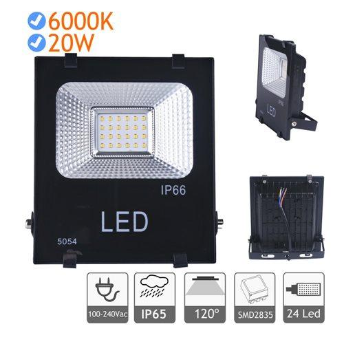 Proyector LED 20W luz blanca fría 6000K exterior negro